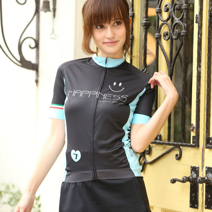 7ITA Happiness Smile Lady Jersey Black/Celeste Green